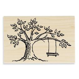 Stampendous P121 Wood Handle Rubber Stamp, Tree Swing