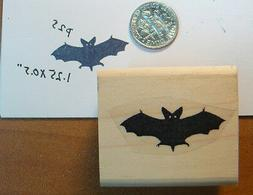 """P25  Bat rubber stamp 1 x 0.5"""" deep etched wood mounted"""