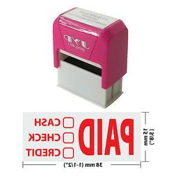 PAID CASH CHECK CREDIT Self Inking Rubber Stamp -  RED INK