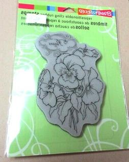 "STAMPENDOUS ""PANSY SPRAY"" CLING RUBBER STAMP CRP264 - NEW"