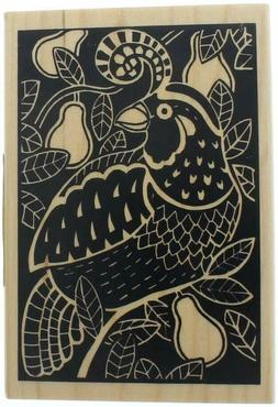 Inkadinkado Partridge Woodcut Red Rubber Wood Stamp Christma