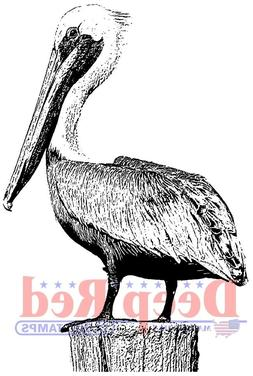 Deep Red Stamps Pelican Rubber Cling Stamp