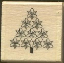 PINE TREE FLORAL DECOR Design Holiday Gift Tag NEW Wood Moun