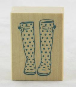 Polka Dot Rain Boot Galoshes Wood Mounted Rubber Stamp Inkad