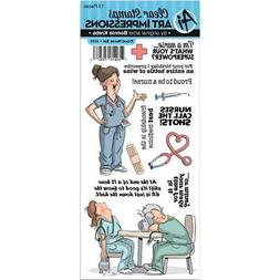 Proud NURSE Nurses Clear Unmounted Rubber Stamp Set ART IMPR