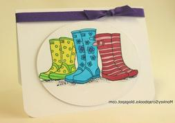 Stampendous PUDDLE BOOTS cling rubber stamp, spring, rain bo