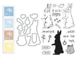 "Hero Arts ""RABBIT"" Clear Stamps + Frame Cuts Dies + Mini Ink"