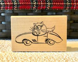 Stampendous RACE CAR FLUFFLES the cat rubber stamp XXX-TRA R
