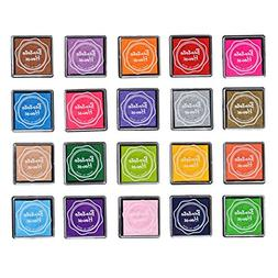 LOVOUS 20 Colors Rainbow Craft Finger Ink pads for Rubber St