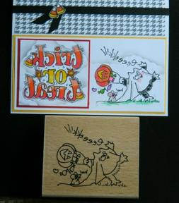RARE Fluffles the CAT wood rubber stamp by Stampendous GHOST