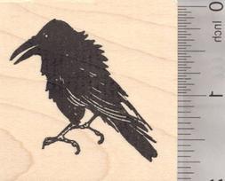 Raven Bird Rubber Stamp, Black Crow