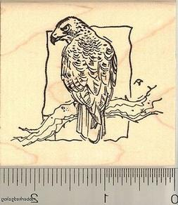 Red Tailed Hawk Perched rubber stamp J11410 WM bird