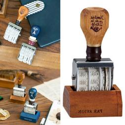 Retro Date Stamp Wood Handle Stamps Roller Seal Rubber Rolle