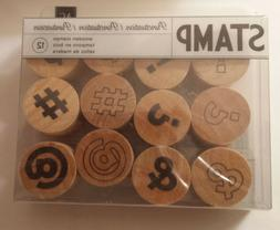 Round Mini Wood Stamp Set of 12 -Punctuation #375079-Journal