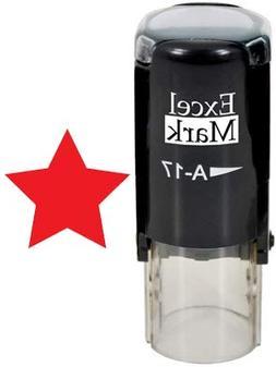 STAR - ExcelMark Self-Inking Round Teacher Stamp - Red Ink