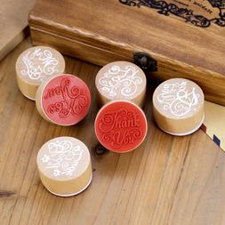 Round Wooden Rubber Stamp Stationery DIY Scrapbooking Cards