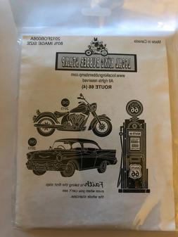 Local King Rubber Stamp Route 66 Set Motorcycle Car Gas Pump