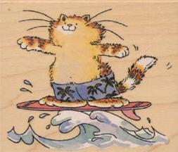 PENNY BLACK RUBBER STAMP CAT SURFING THE WAVES NEW wood STAM