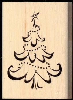 INKADINKADO rubber stamp CHRISTMAS TREE wood mounted