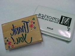Rubber Stamp Crafts Scrapbooking Thank You w NEW Black Acid