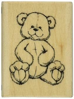Rubber Stamp With Wood Handle, Teddy Bear