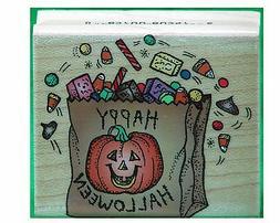Rubber Stamp E1282 Halloween Bag Candy Happy Halloween Hero