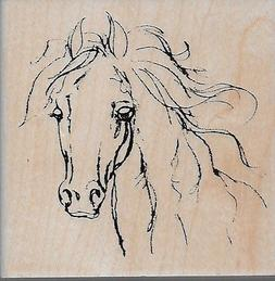 STAMPENDOUS rubber stamp FILLY SKETCH wood mounted, Horse