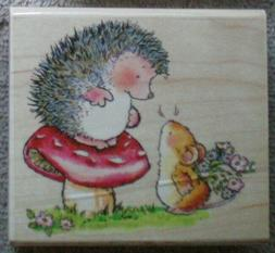 PENNY BLACK RUBBER STAMP-GUESS WHAT HEDGEHOG & MOUSE