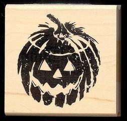 INKADINKADO rubber stamp JACK-O-LANTERN  wood mounted Fall,