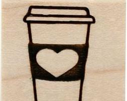 Rubber Stamp,  Love Coffee image 1 Inch, wood mount stamp Cl