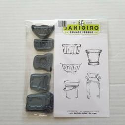 ART IMPRESSIONS Rubber Stamp MINI watercolor CONTAINERS clin