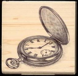 INKADINKADO rubber stamp POCKET WATCH wood mounted, Time, Ma