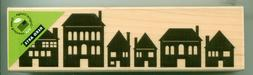 HERO ARTS rubber stamp ROW OF HOUSES wood mounted, Structure