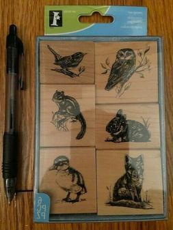 Rubber Stamp Set Animals and Birds Inkadinkado wood Stamps s