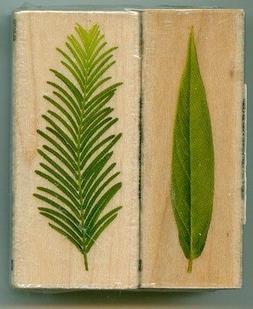 INKADINKADO rubber stamp set LEAVES  wood mounted, Willow Fe