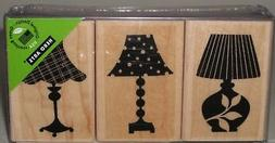 Hero Arts Rubber Stamp Set of 3 Decorative Lamps Wood Mount