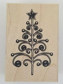 Rubber Stamp Swirl Christmas Tree Inkadinkado Modern Holiday