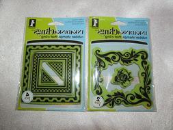 Inkadinkado Rubber Stamp That Clings LOT OF 2 rose frame & b