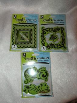 Inkadinkado Rubber Stamp That Clings LOT OF 3 rose frame squ