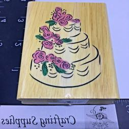 Rubber Stamp Wedding Cake with Rose Flower Decoration Wood M