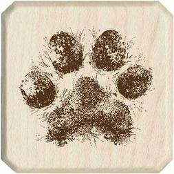 rubber stamp with wood handle dog paw