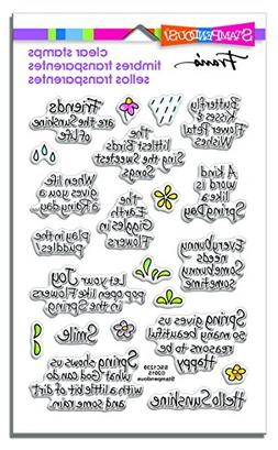 STAMPENDOUS RUBBER STAMPS CLEAR SPRING SENTIMENTS NEW clear