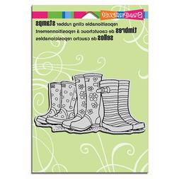 STAMPENDOUS RUBBER STAMPS CLING PUDDLE BOOTS NEW cling STAMP