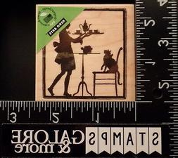 HERO ARTS RUBBER STAMPS F5408 TEATIME SILHOUETTE WOMAN CARRY