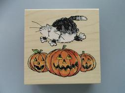 PENNY BLACK RUBBER STAMPS FRIGHTFUL HALLOWEEN CAT NEW wood S