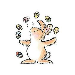 PENNY BLACK RUBBER STAMPS JUGGLING EGGS BUNNY NEW wood STAMP