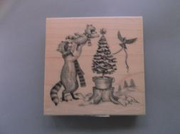 INKADINKADO RUBBER STAMPS RACCOON CHRISTMAS TREE STAMP