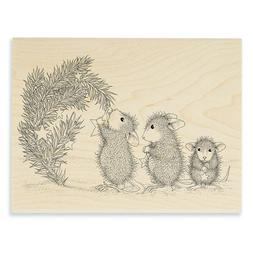 HOUSE MOUSE RUBBER STAMPS STAR DECORATIONS NEW WOOD STAMP