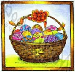 Northwoods Rubber Stamps - Wood Mounted Easter Basket in Squ
