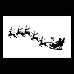 santa sleigh and reindeer silhouette unmounted rubber